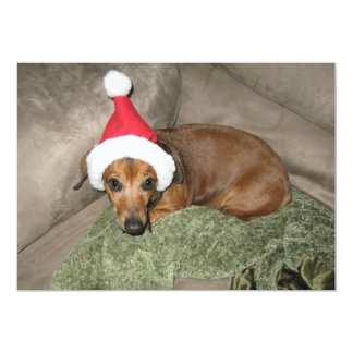 Naughty list - Reluctant Santa Dachshund Card