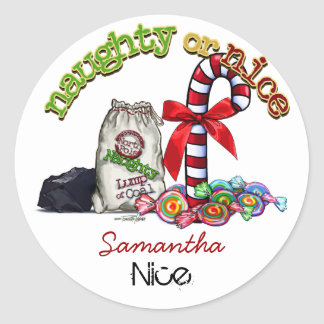 Naughty Nice List Classic Round Sticker