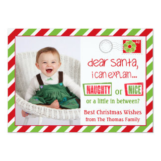 Naughty Or Nice Christmas Postcard Card 5x7 13 Cm X 18 Cm Invitation Card