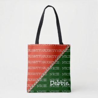 Naughty or Nice Custom Name Tote Bag