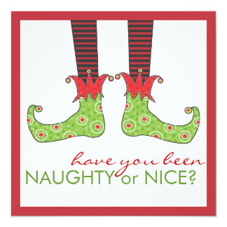 Naughty or Nice Elf Feet Holiday Christmas Party Card