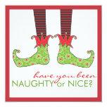 Naughty or Nice Elf Feet Holiday Christmas Party Custom Invite