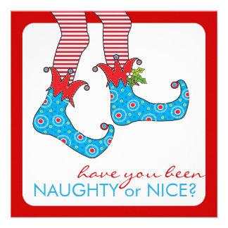 Naughty or Nice Elf Holiday Christmas Party Custom Invitations