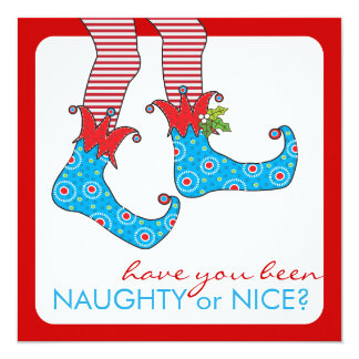 "Naughty or Nice Elf Holiday Christmas Party 5.25"" Square Invitation Card"