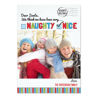 Naughty or Nice Family Christmas Photo Card 13 Cm X 18 Cm Invitation Card