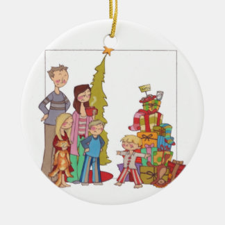 """""""Naughty or Nice"""" illustrated Family ornament"""