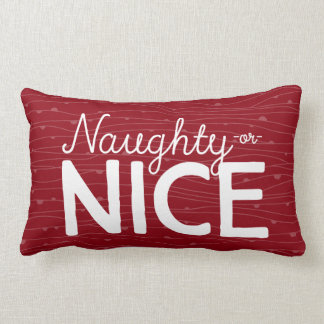 Naughty -or- Nice • in red & green Lumbar Cushion