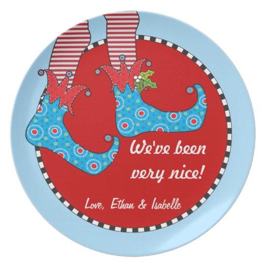 Naughty or Nice Personalised Merry Elf Feet Plate