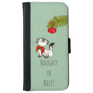 Naughty or Nice Playful Kitty Cat Christmas iPhone 6 Wallet Case