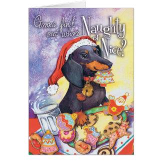 Naughty Santa Doxie Card