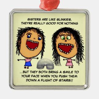 Naughty Sisters Metal Ornament