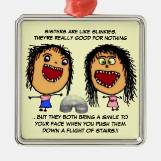 Naughty Sisters Silver-Colored Square Decoration