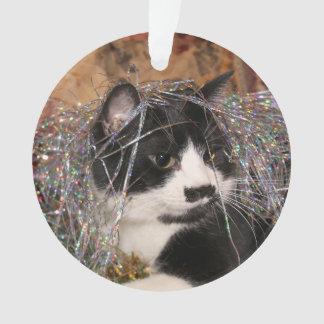 Naughty tuxedo kitty Christmas Ornament