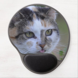 Naughty white cat gel mouse pad