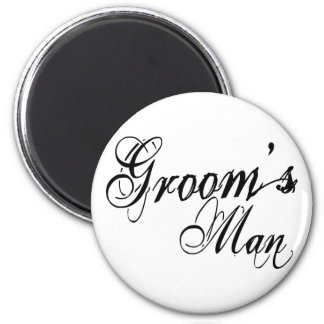 Naughy Grunge Script - Groom's Man Black 6 Cm Round Magnet