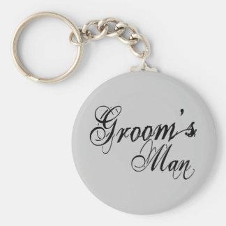 Naughy Grunge Script - Groom's Man Black Basic Round Button Key Ring