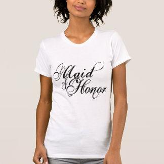 Naughy Grunge Script - Maid Of Honor Black T-Shirt