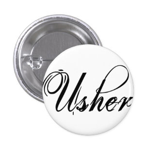 Naughy Grunge Script - Usher Black 3 Cm Round Badge