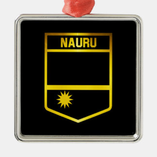 Nauru Emblem Silver-Colored Square Decoration