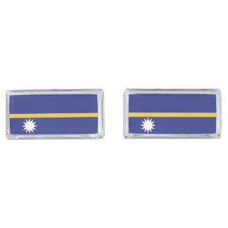 Nauru Flag Silver Finish Cuff Links
