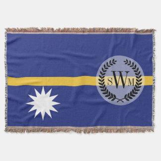 Nauru Flag Throw Blanket