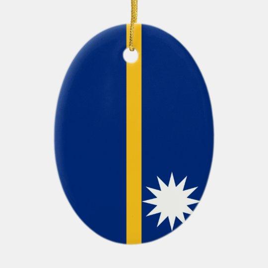 Nauru National World Flag Ceramic Ornament