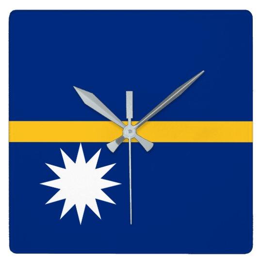 Nauru National World Flag Square Wall Clock