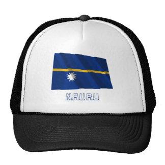 Nauru Waving Flag with Name Mesh Hats