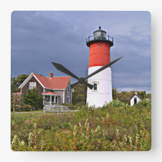 Nauset Lighthouse, Cape Cod Mass Square Wall Clock