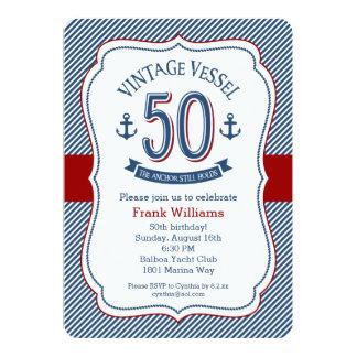 Nautical 50th Birthday 13 Cm X 18 Cm Invitation Card