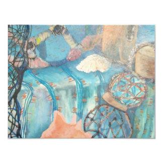 nautical abstract 11 cm x 14 cm invitation card