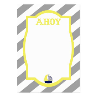 Nautical Ahoy Grey Stripes Business Card