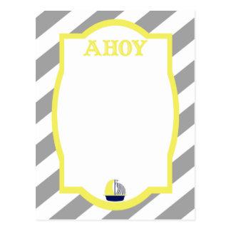 Nautical Ahoy Grey Stripes Postcard