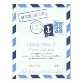 Nautical Airmail Card Save the Date 11 Cm X 14 Cm Invitation Card
