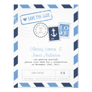 Nautical Airmail Card Save the Date Personalized Announcement
