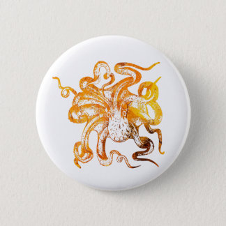Nautical amber octopus 6 cm round badge