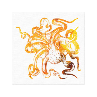 Nautical amber octopus canvas print