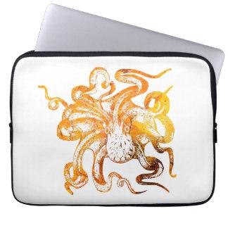 Nautical amber octopus laptop sleeve