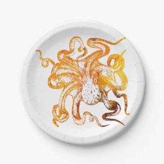Nautical amber octopus paper plate