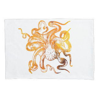 Nautical amber octopus pillowcase