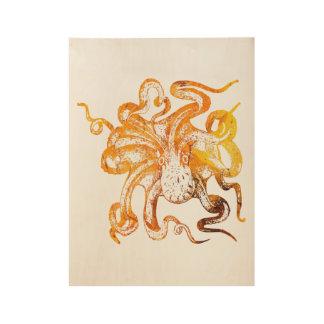 Nautical amber octopus wood poster
