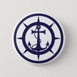 Nautical Anchor 6 Cm Round Badge