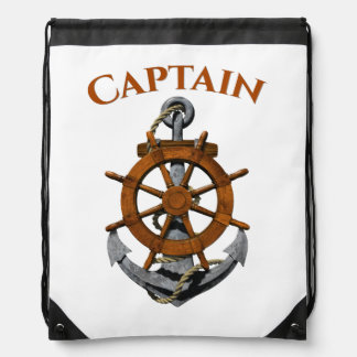 Nautical Anchor And Captain Drawstring Bag