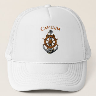 Nautical Anchor And Captain Trucker Hat