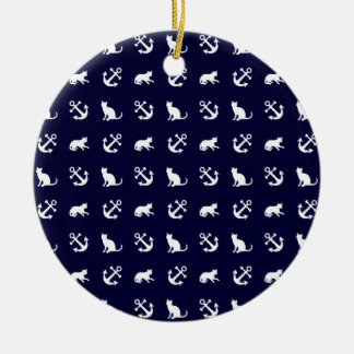 Nautical anchor and cats ceramic ornament