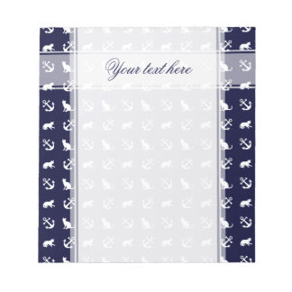 Nautical anchor and cats notepad