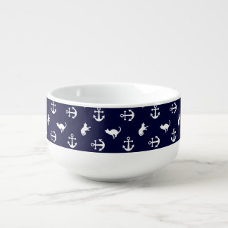 Nautical anchor and cats soup mug