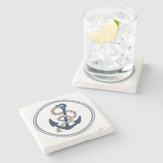 Nautical Anchor And Rope In Blue And White Stone Coaster