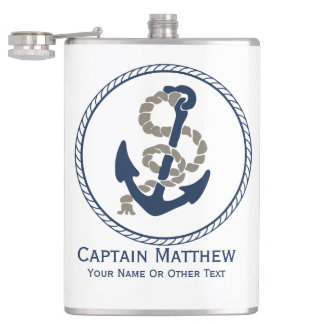 Nautical Anchor And Rope Sailing Themed Hip Flask