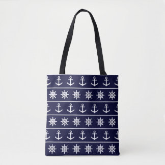 Nautical anchor and ship's wheel custom background tote bag